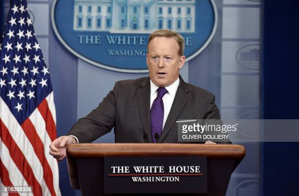 White House Press Secretary Sean Spicer briefs members of the media during a daily briefing at the White House July 17 2017 in Washington DC / AFP...