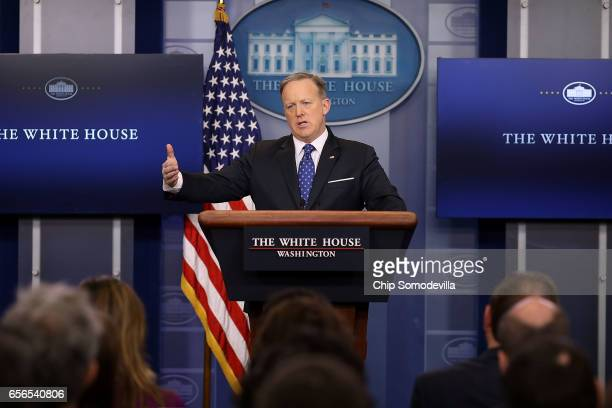 White House Press Secretary Sean Spicer briefs reporters in the Brady Press Briefing Room at the White House March 22 2017 in Washington DC Spicer...