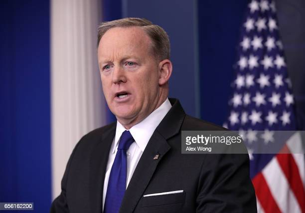 White House Press Secretary Sean Spicer conducts a daily news briefing at the James Brady Press Briefing Room at the White House March 21 2017 in...