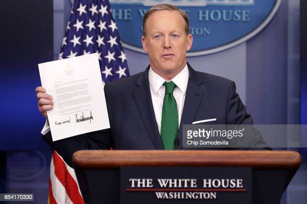 White House Press Secretary Sean Spicer conducts the daily press briefing in the Brady Press Briefing Room at the White House March 16 2017 in...