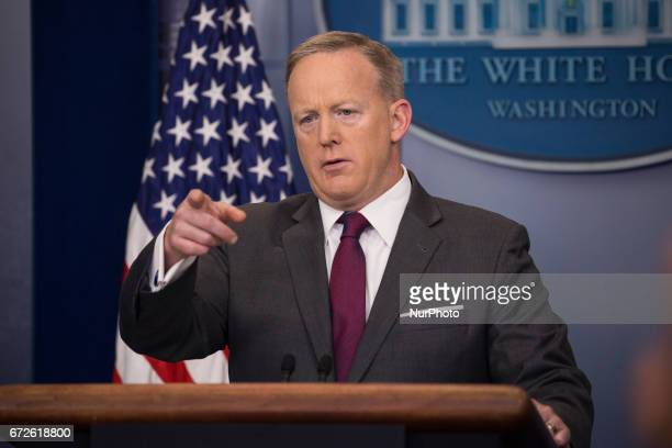 White House Press Secretary Sean Spicer delivered the press briefing in the James S Brady Press Briefing Room of the White House on Monday April 24...