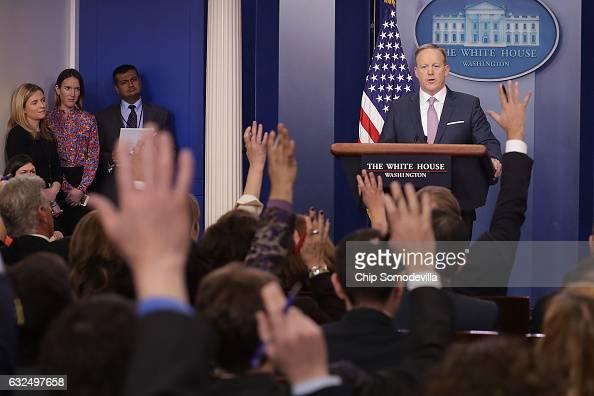White House Press Secretary Sean Spicer holds the daily press briefing in the James Brady Press Briefing Room at the White House January 23 2017 in...