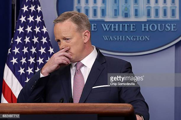 White House Press Secretary Sean Spicer holds the daily press briefing in the James Brady Press Briefing Room at the White House January 23 2017 in...