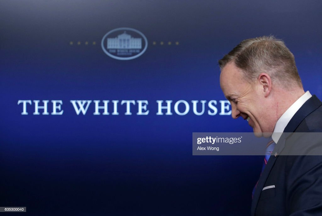 White House Press Secretary Sean Spicer leaves after a daily press briefing at the James Brady Press Briefing Room February 14, 2017 at the White House in Washington, DC. Spicer discussed on various topics including the resignation of Michael Flynn from his position as National Security Adviser.