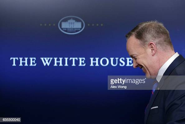 White House Press Secretary Sean Spicer leaves after a daily press briefing at the James Brady Press Briefing Room February 14 2017 at the White...