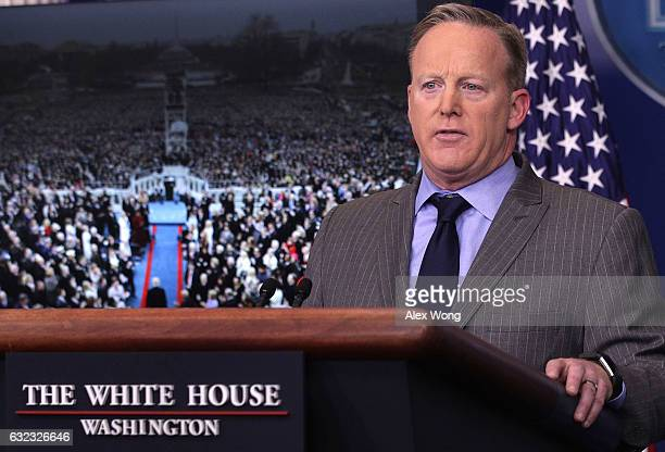 White House Press Secretary Sean Spicer makes a statement to members of the media at the James Brady Press Briefing Room of the White House January...