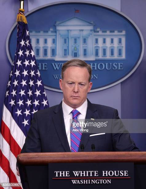 White House Press Secretary Sean Spicer participates in a White House daily press briefing at the James Brady Press Briefing Room February 14 2017 at...
