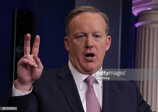 White House Press Secretary Sean Spicer speaks during a daily briefing at the James Brady Press Briefing Room of the White House January 23 2017 in...