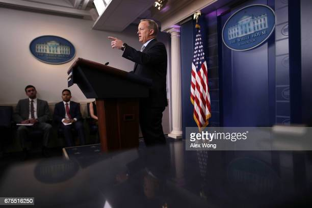 White House Press Secretary Sean Spicer speaks during a daily news briefing at the James Brady Press Briefing Room of the White House May 1 2017 in...