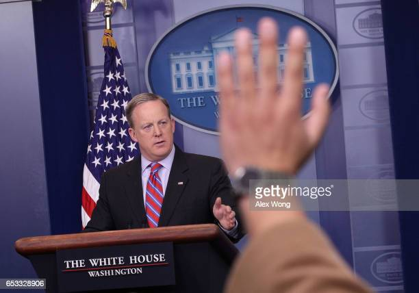 White House Press Secretary Sean Spicer speaks during a White House daily briefing at the James Brady Press Briefing Room of the White House March 14...