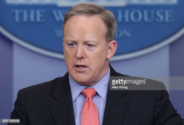 White House Press Secretary Sean Spicer speaks during the daily press briefing at the James Brady Press Briefing Room of the White House January 31...