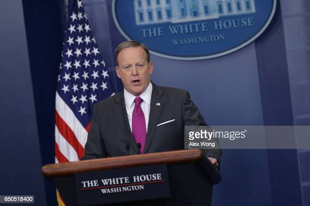 White House Press Secretary Sean Spicer speaks during the daily White House press briefing at the James Brady Press Briefing Room of the White House...