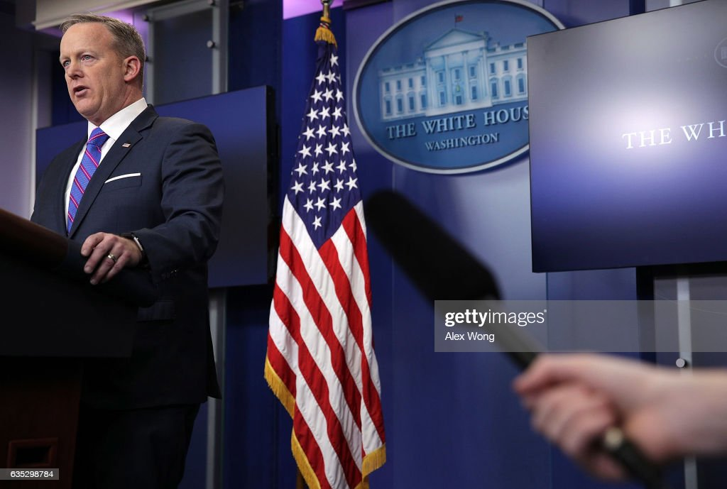 White House Press Secretary Sean Spicer speaks to members of the White House press corps during a daily press briefing at the James Brady Press Briefing Room February 14, 2017 at the White House in Washington, DC. Spicer discussed various topics including the resignation of Michael Flynn from his position as National Security Adviser.