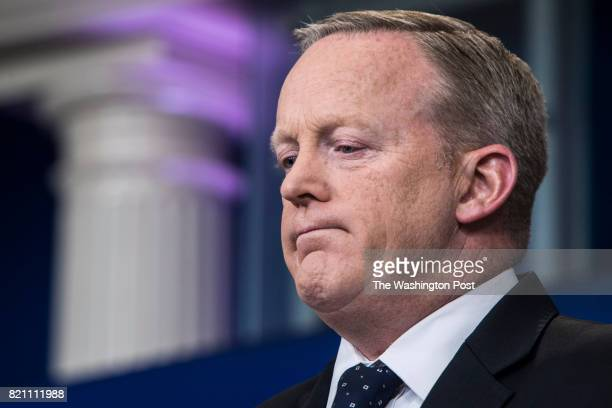 White House press secretary Sean Spicer speaks to reporters and members of the media during a press briefing at the White House in Washington DC on...