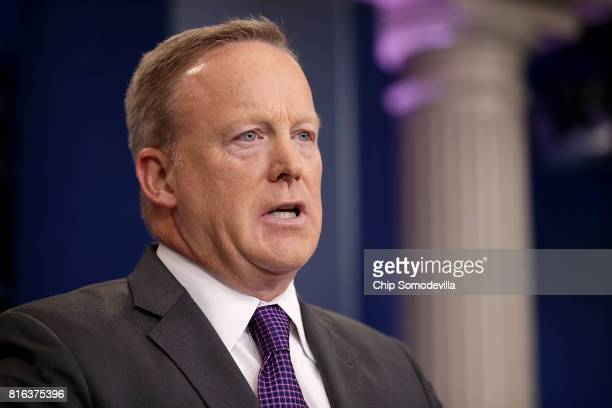 White House Press Secretary Sean Spicer speaks to reporters during an offcamera briefing in the Brady Press Briefing Room at the White House July 17...