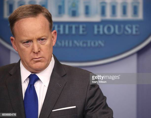 White House Press Secretary Sean Spicer speaks to the media during his daily briefing at the White House on March 20 2017 in Washington DC