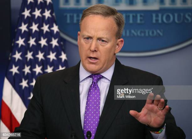 White House Press Secretary Sean Spicer takes questions from reporters during the daily press briefing at the White House February 8 2017 in...