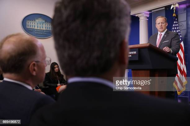 White House Press Secretary Sean Spicer takes questions from reporters during the daily press briefing at the White House April 17 2017 in Washington...