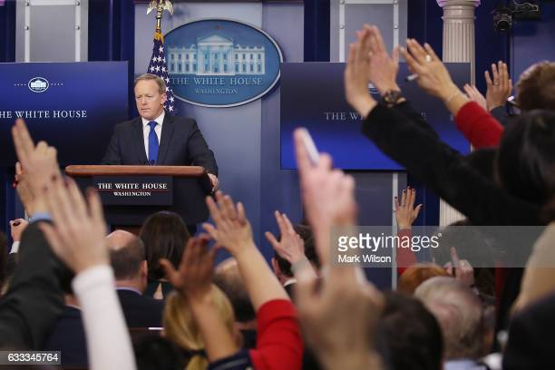 White House Press Secretary Sean Spicer takes questions from reporters in the Brady Press Briefing Room at the White House February 1 2017 in...