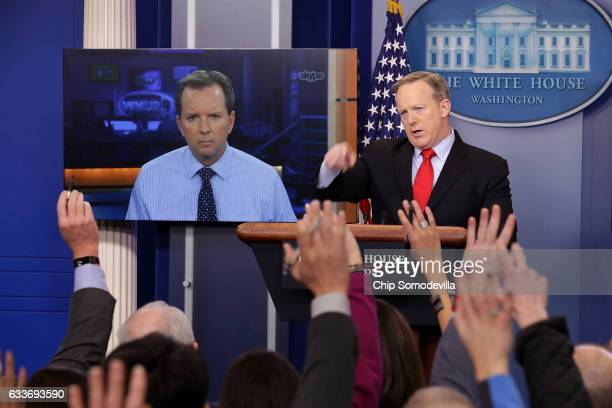 White House Press Secretary Sean Spicer takes questions from reporters in the Brady Press Briefing Room after answering a question from WMUR's Josh...