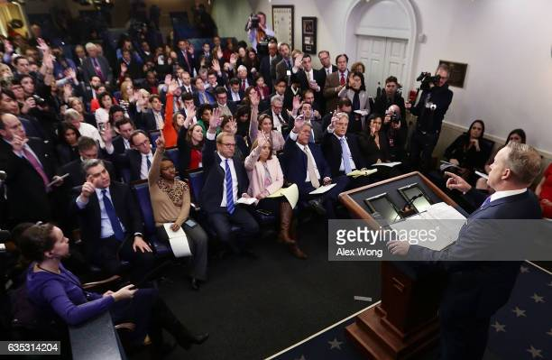 White House Press Secretary Sean Spicer takes questions from members of the White House press corps during a daily press briefing at the James Brady...