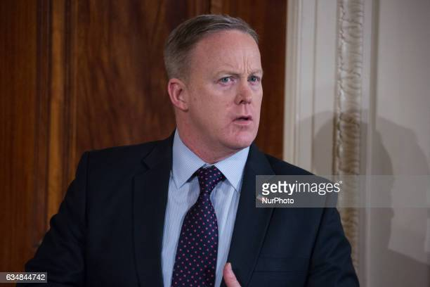 White House Press Secretary Sean Spicer was present for US President Donald Trump and Japanese Prime Minster Shinz Abe's joint press conference in...