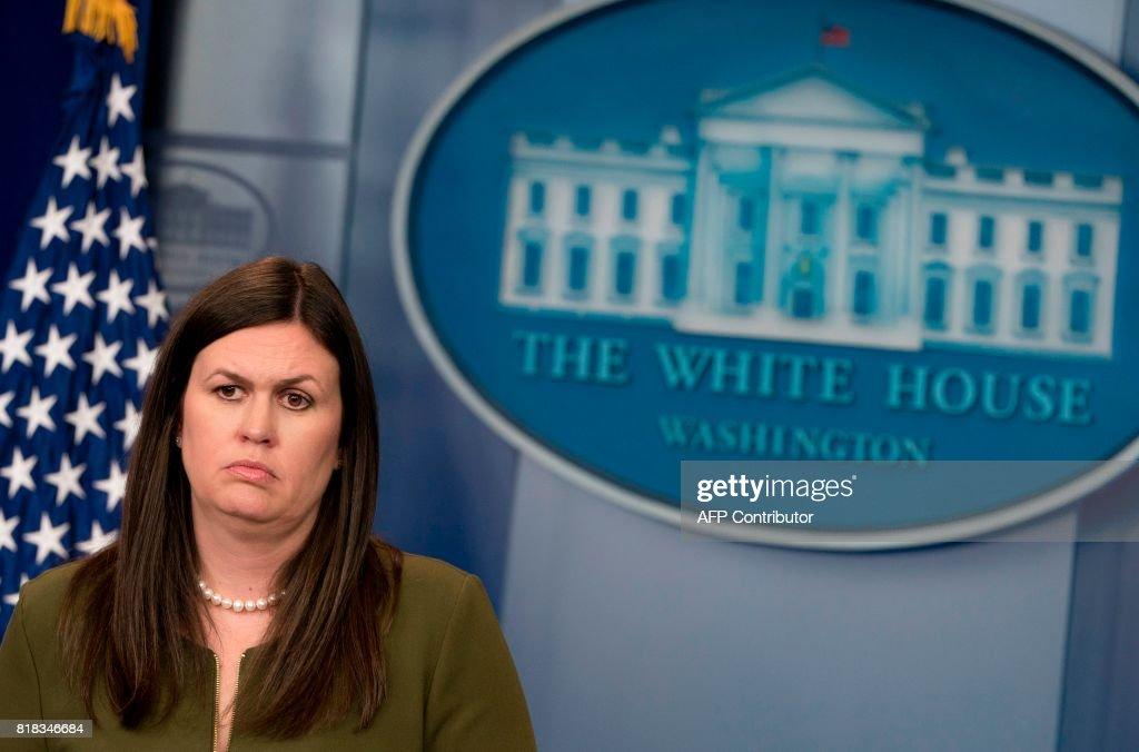 White House Principal Deputy Press Secretary Sarah Huckabee Sanders speaks during the daily press briefing in the Brady Press Briefing Room of the White House in Washington, DC, July 18, 2017. /