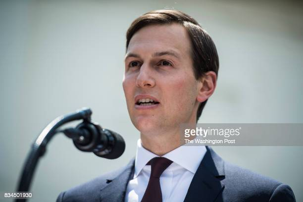 White House senior adviser Jared Kushner speaks to reporters after meeting on Capitol Hill behind closed doors with the Senate Intelligence Committee...