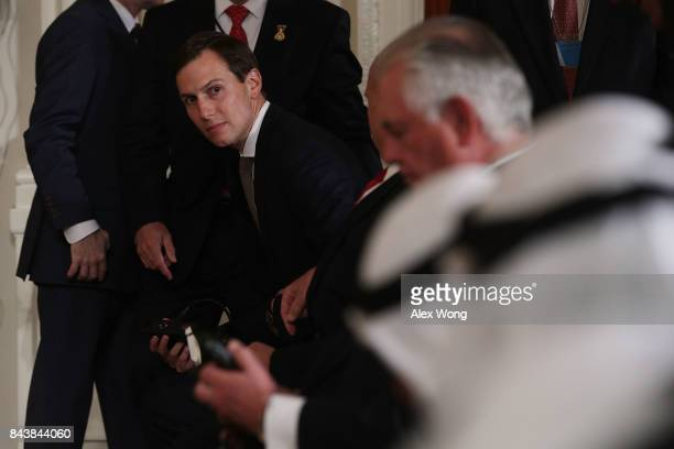 White House Senior Adviser Jared Kushner takes his seat prior to a joint news conference in the East Room of the White House September 7 2017 in...