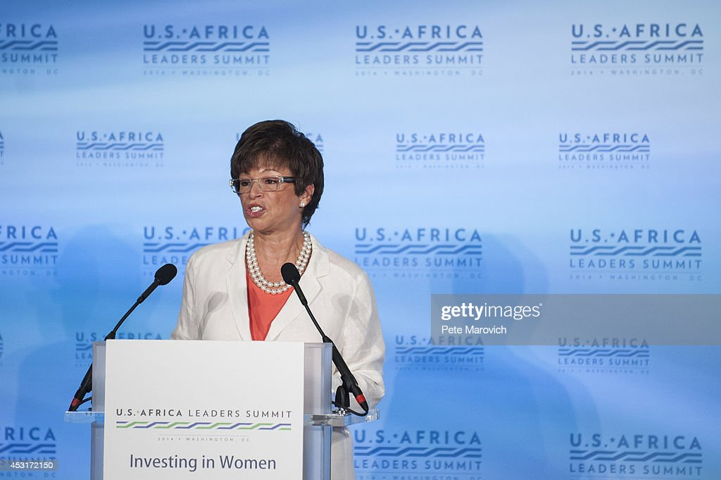 White House Senior Adviser <a gi-track='captionPersonalityLinkClicked' href=/galleries/search?phrase=Valerie+Jarrett&family=editorial&specificpeople=5003206 ng-click='$event.stopPropagation()'>Valerie Jarrett</a> addresses a Investing in Women, Peace, and Prosperity luncheon at the at the National Academy of Sciences as part of the first U.S.-Africa Leaders Summit on August 4, 2014 in Washington, DC. The event is set to promote business relationships between the United States and African countries during the first-ever leaders summit, where 49 heads of state will be meeting in Washington over the next three days.