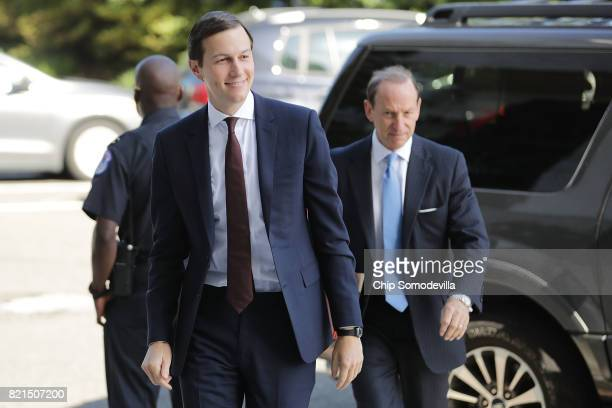 White House Senior Advisor and President Donald Trump's soninlaw Jared Kushner and attorney Abbe Lowell arrives at the Hart Senate Office Building to...