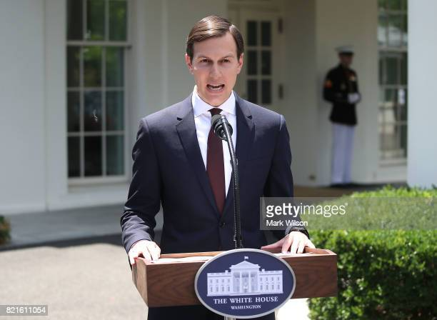 White House Senior Advisor and President Donald Trump's soninlaw Jared Kushner reads a statment in front of West Wing of the White House after...