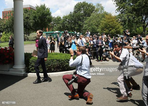 White House Senior Advisor and President Donald Trump's soninlaw Jared Kushner walks away after reading a statment in front of West Wing of the White...