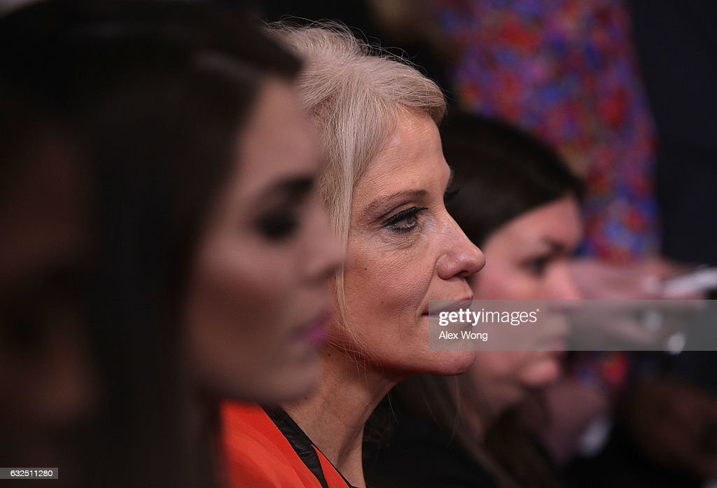 White House senior advisor Kellyanne Conway (C) listens during a daily briefing at the James Brady Press Briefing Room of the White House January 23, 2017 in Washington, DC. Press Secretary Sean Spicer conducted his first official White House daily briefing to take questions from the members of the White House press corps.