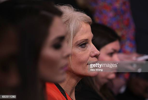 White House senior advisor Kellyanne Conway listens during a daily briefing at the James Brady Press Briefing Room of the White House January 23 2017...