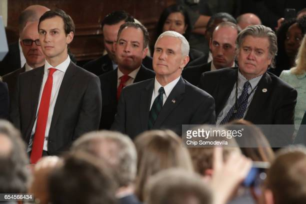 White House Senior Advisor to the President for Strategic Planning Jared Kushner US Vice President Mike Pence and Chief Strategist Steve Bannon look...