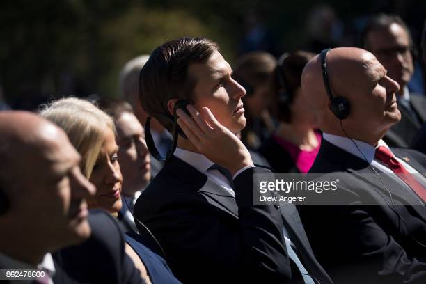 White House Senior Advisor to the President Jared Kushner and National Security Advisor HR McMaster listen during a joint press conference with US...