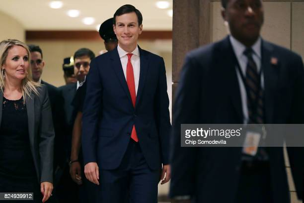 White House Senior Advisor to the President Jared Kushner arrives to address Congressional interns at the US Capitol Visitors Center July 31 2017 in...