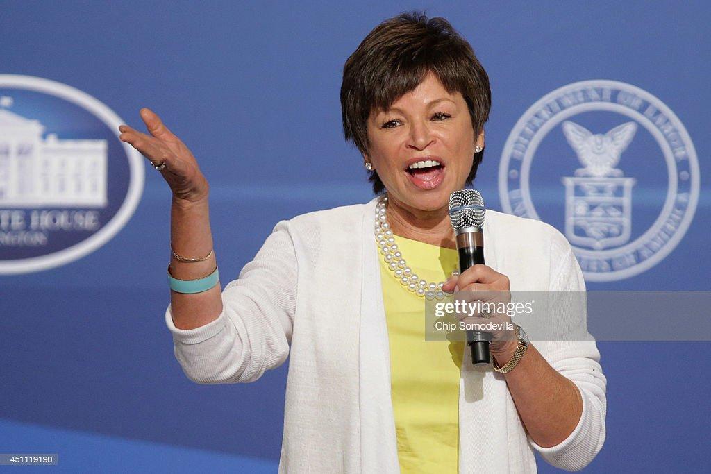 White House Senior Advisor Valerie Jarrett speaks during the White House Summit On Working Families at the Omni Shoreham hotel June 23 2014 in...