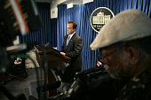 White House spokesman Scott McClellan center delivers the daily briefing in Washington DC July 13 2005 McCellan was questioned vigorously by members...