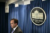 White House spokesman Scott McClellan delivers the daily briefing in Washington DC July 13 2005 McCellan was questioned vigorously by members of the...