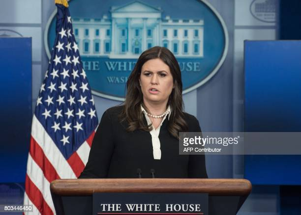 White House spokesperson Sarah Huckabee Sanders speaks at the press briefing at the White House in Washington DC on June 29 2017 / AFP PHOTO /...