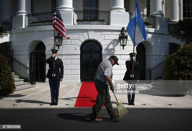 White House staff make final preparations for the arrival of the President Mauricio Macri of Argentina on April 27 2017 in Washington DC US President...