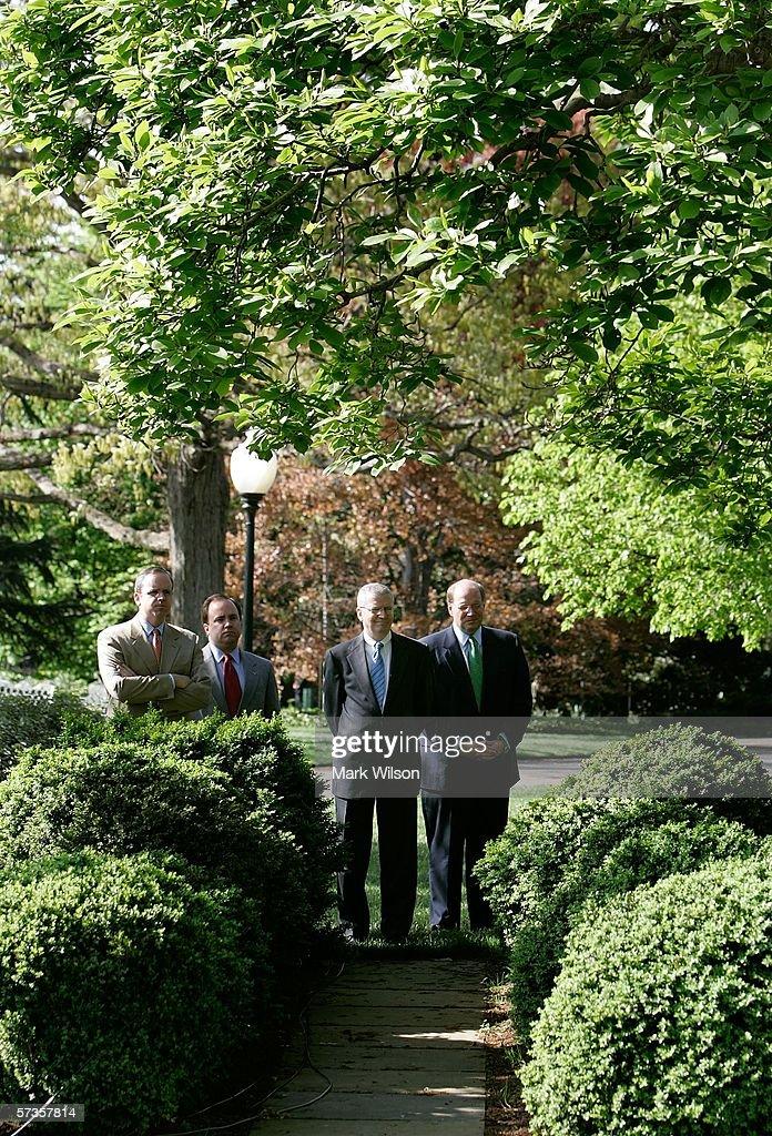 White House staff members Dan Bartlett counselor to the president Press Secretary Scott McClellan Chief of Staff Joshua Bolten and Deputy Chief of...