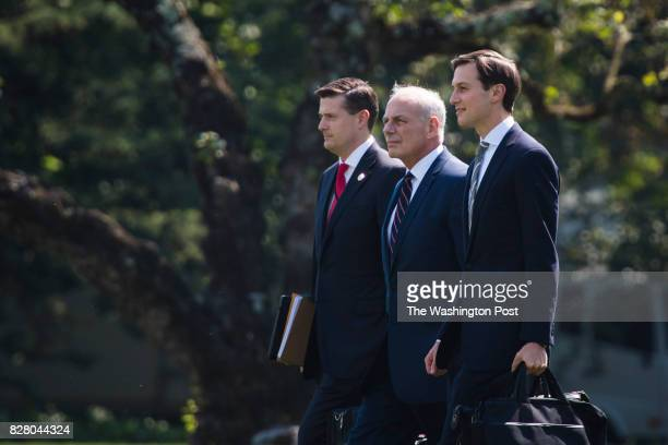 White House Staff Secretary Rob Porter White House Chief of Staff John Kelly and White House adviser Jared Kushner follow President Donald Trump to...