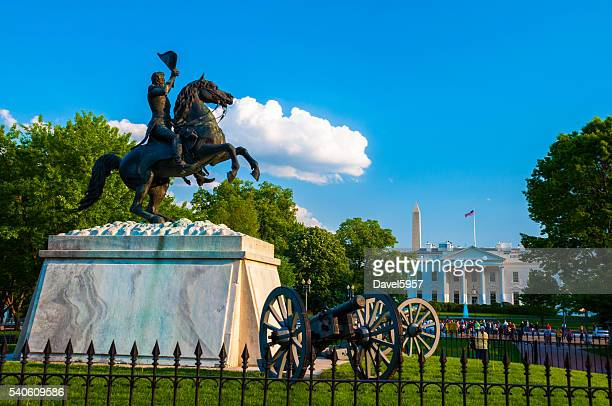 White House with Andrew Jackson Equestrian Statue and Cannons