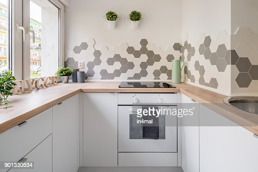 White hygge kitchen : Stock Photo