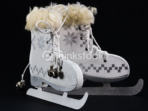 white ice skate christmas decoration stock photo