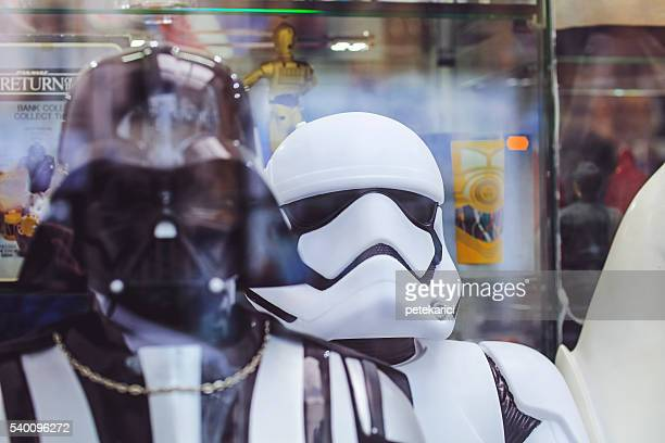 White Imperial Stormtrooper action figure and Darth Vader