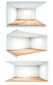 white interior. 3D illustration.